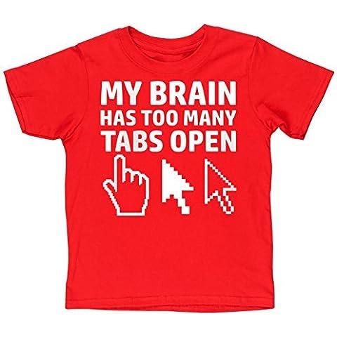 HippoWarehouse My cervello ha too tanti finestre apri 2 bambini t-shirt manica corta
