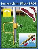 Wenko Sonnenschirm-Pflock Profi, SONNENSCHIRM- HALTER aus verzinktem Profistahl, für Sonnenschirm oder Wäschespinne, ca.43 x 14,5 x 5cm, Rohr Ø: ca. Außen: 50 mm - Innen: 38 mm, Mit extra grossem Trittbügel und Feststellschraube, schirmhalter