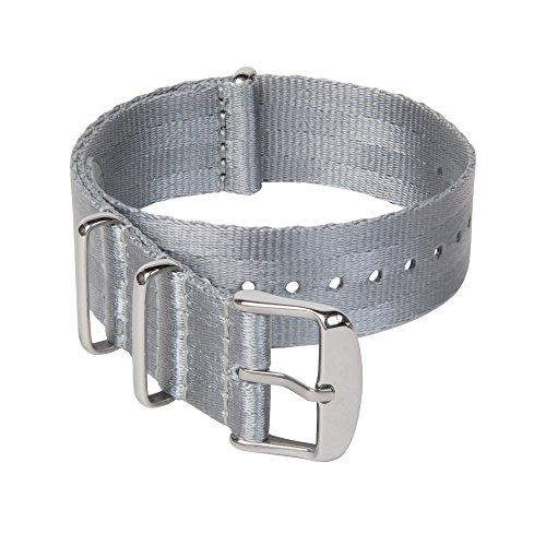 Archer Watch Straps Sicherheitsgurt Stil Gewebtes Nylon NATO Uhrenarmband - Grau/Edelstahl Hardware, 20mm -