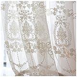 Cystyle 2018 1er-Pack Gardine, weiß Spitze Vorhang aus hochwertigem mit transparentem Oberstoff (200CM W*270 CM H)