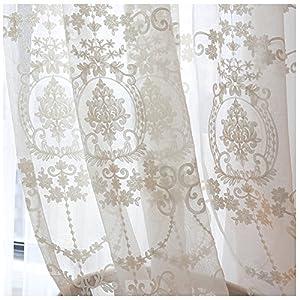 CYSTYLE 1er-Pack Gardine, weiß Spitze Vorhang aus hochwertigem mit transparentem Oberstoff (150 cm W*270 cm H)