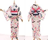 Kawaii-Story K-001 weiß Schmetterling Blumen ORIGINAL traditionell Japan Damen Kimono YUKATA OBI Gürtel Baumwolle