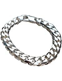 "CJoL - Sterling Silver Mens 8.5"" (21.6cm) 11mm Wide Chunky 2oz Curb Bracelet In Gift Box - 57.2g"