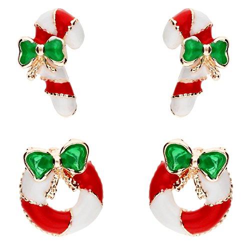 MYA art Damen Mädchen Weihnachts Ohrringe Ohrstecker Set mit Zuckerstange Kranz Grün Gold Rot Weiß MYA-MODOHR-7 (Schwester Kostüme Niedliche)