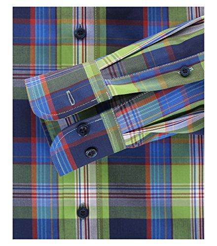 Michaelax-Fashion-Trade -  Camicia classiche  - A quadri - Maniche lunghe  - Uomo Grün/Blau (300)