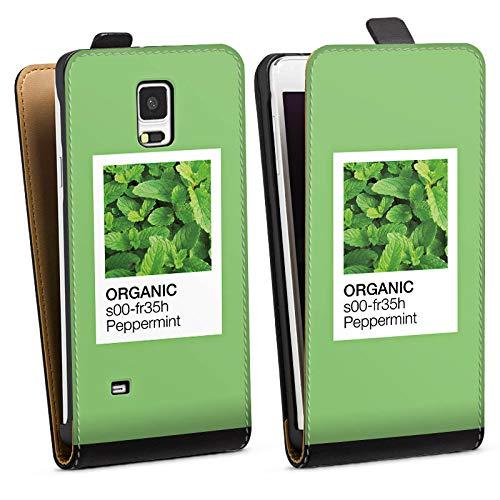 DeinDesign Tasche kompatibel mit Samsung Galaxy Note 4 Flip Case Hülle Mint Pfefferminz Farbe - Pfefferminz-noten