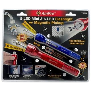 Ampro T19716 Mini and Full-Size Dual LED Flashlight Set Combo