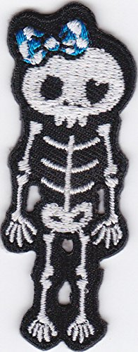 Aufbügler iron on Patch Applikation Skelett Weiblich mit Schleife Gothic Witzig Cute ()