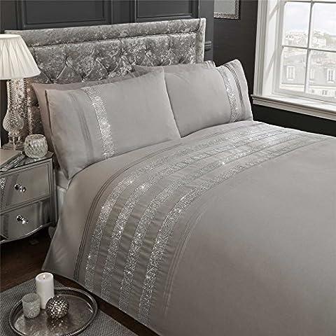 Diamante Sequins Bands perlés Gris Mélange de coton Super king size (Blanc uni Drap-housse–180x 200cm + 25) Blanc uni Taies d'oreiller Parure de lit de 6pièces