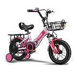 FINLR-Kinderfahrräder Mädchen Jungen Kinder Kinder Fahrrad Klappstoßdämpfer Fahrrad 4 Farben Mit Stabilisatoren Und Korb (Color : Red, Size : 20 inches)