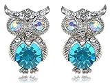 Alilang Frauen Silber Farbton Türkis Blau Farbige Strass Eulen Vogel Bolzen Ohrringe