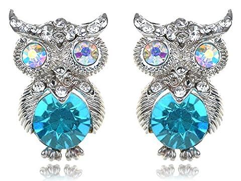 Ton argent cristal Aurora Borealis strass bleu Corps Hibou Boucles d'oreilles clous