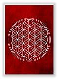 Die Blume des Lebens - Flower of Life - Wandbild Feng Shui Energiebild Kunstdruck Chakren Bild (Rot)