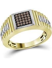 Jewels By Lux Herren Gelbgold cognac-brauner Diamantring