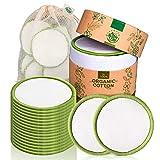 Coton Démaquillant Lavable Greenzla (lot de 20) avec sac à linge lavable et boite ronde pour le stockage | Bambou et Coton 100% bio | Lingettes démaquillantes lavables et réutilisables | Zero Déchet