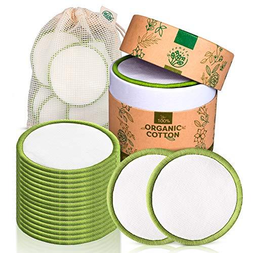 Greenzla Waschbare Abschminkpads (20 Stück) mit waschbarem Wäschesack und runder Box zur Aufbewahrung | 100% Organische Bambus & Baumwoll | Wiederverwendbare Wattepads für alle Hauttypen | Zero Waste -