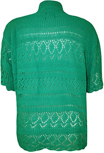 WEARALL Femmes Grande Taille Tricoté Crochet Court Manche Haut Haussement D'Épaules Dames Ouvert Cardigan - Hauts - Femmes - Tailles 42-58 Vert