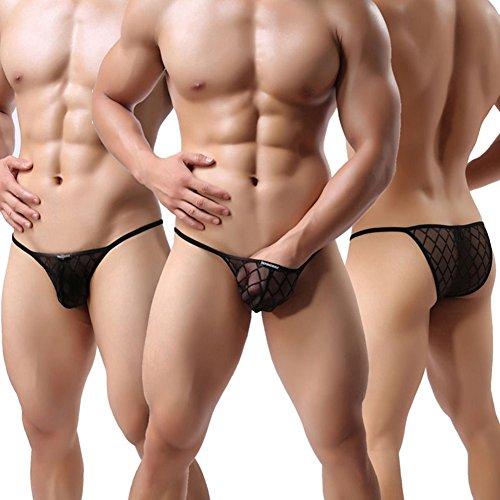 YiZYiF Herren Boxershort / Strings Netz Unterwäsche Transparent Schwarz Bikini Slips Shorts Pants Unterhosen Schwarz Bikini Slips