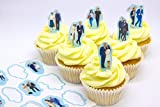 12 x PRE-CUT Prince Harry Meghan Markle Royal Wedding Stand Up Edible Cake Toppers