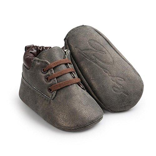 Baby Kinder Weiche Sohle Leder Schuhe, Zolimx Junge Mädchen Kleinkind Boots Dunkelgrau
