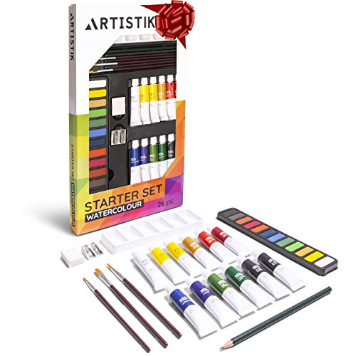 Watercolour Complete Paint Set - (31 Pieces) Watercolor Painting Kit, 12-12 ml Color Tube Sets, Paint Brushes, Palette, Knife, Sketching Pencil, Art Supplies for Beginners, and Hobbyists