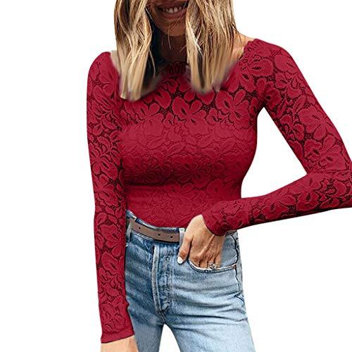 Kostüm Cute Womens Übergröße - Junjie Autumn Women's Wear Neue EIN-Wort-Spitze Sexy Langarm-T-Shirts lustig Short Shirt Tops Umstandsrock Damen lang Sommer Schwarz Rot Weiß