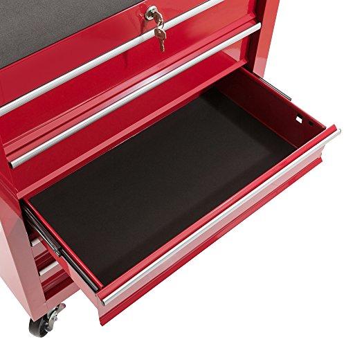 Arebos Werkstattwagen 5 Fächer/zentral abschließbar/Anti-Rutschbeschichtung/Räder mit Festellbremse/Massives Metall/rot, blau oder schwarz (rot) - 4