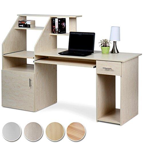 Schreibtisch Bürotisch mit ausfahrbarer Tastaturablage und vielen Ablagemöglichkeiten in 4 verschiedenen Farben