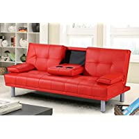 New 'Sleep Design' Manhattan Modern Faux Leather Sofa Bed With Drinks Table & Cushions- Available In Red