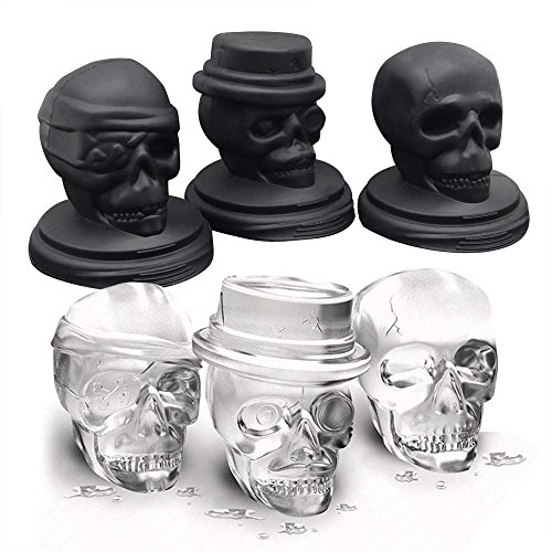 milatte Pop, 3D flexibel, groß, rund, Silikon, für Whiskey, Urlaub, Party, Halloween, 3 Stück, Schwarz ()
