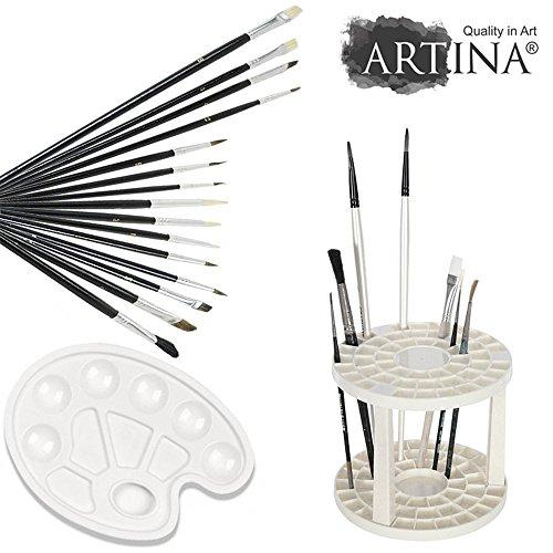 Artina 17tlg Pinsel Set Elba - Pinsel Malset Künstler mit 15 Pinsel, Mischpalette, Pinselständer für Aquarell Acryl & Öl