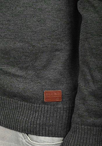 BLEND Daniri Herren Strickjacke Cardigan Feinstrick mit Stehkragen aus Baumwoll-Mischung Charcoal (70818)