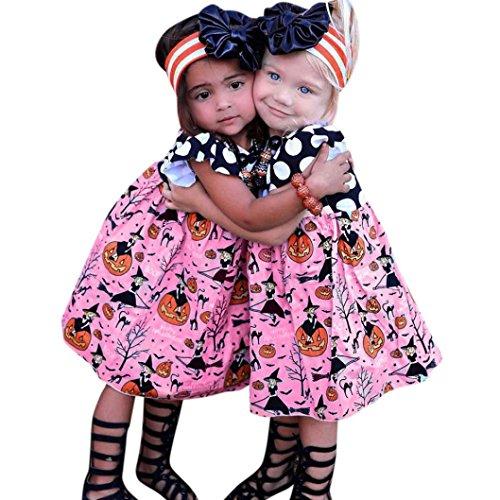 URSING Kleinkind Baby Mädchen Halloween Kürbis Karikatur Prinzessin Kleid Outfits Kleider Super Süß A-Line Rock Kinder Ärmellos Mini Kleid Mode Party Kleid 2-6 Jahre alt (90CM, Rosa)