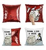 Nerd Geek Penguin P278 Sequin Pillow, Scales Coussin, Oreiller Amusant, Coussin décoratif, Décor, Gift for Him Her, Christmas Halloween, Present (taie d'oreiller + Oreiller)