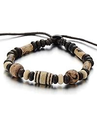 Etnico Arcilla Perla Cerámico Brazalete de Hombre Mujer, Cuerda Pulsera del Abrigo Tribal