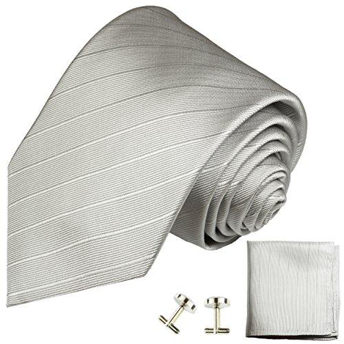 Cravate argenté uni rayée ensemble de cravate 3 Pièces ( 100% Soie Cravate + Mouchoir + Boutons de manchette )