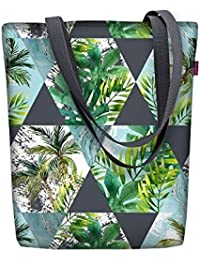 28df4175f48ef Arso Shopper Sunny Florida Stofftasche Damen Tasche mit Motiv  Palmen-Blätter Stoff Kodura Einkaufstasche…