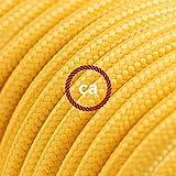 Fil Électrique Rond Gaine De Tissu De Couleur Effet Soie Tissu Uni Jaune RM10 - 5 mètres, 3x0.75