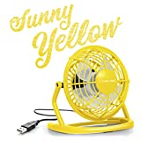 TROTEC Mini USB Fan Sunny Yellow TVE 1Y / Silent Power PC Laptop Fan Desk Table / 360 Degree Rotation/ON and OFF Switch - Yellow