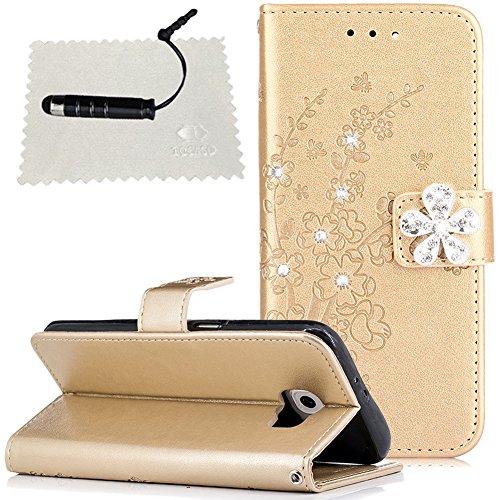 Samsung S6 Hülle , Samsung Galaxy S6 Leder Tasche , TOCASO Samsung Galaxy S6 Leder Hülle Schwarz Schutzhülle Flip Tasche Handyhülle Glitzer Brieftasche Wallet Case Handy Hülle Tasche Hülle Glitzer Strass Diamanten mit Muster Blume Schmetterling Geprägt im Bookstyle Klapphülle mit Standfunktion [Kartenfach] [Magnetverschluss] Hülle für Samsung Galaxy S6 + 1* Schwarzer Stift --Golden