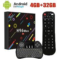 [2018 Dernière Version] H96 Max Android 7.1 TV Box avec Mini Clavier Rétroéclairé Sans Fil,4Go+32Go Boîtier TV,RK3328 Quad Core 64Bit CPU Set Top Box Support 4K UHD 2.4G/5G WiFi Ethernet Bluetooth 4.0