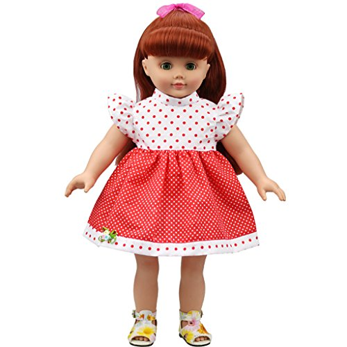 Generic White & Red Polka Dots Dress for 18 inch American Girl Dolls  available at amazon for Rs.345