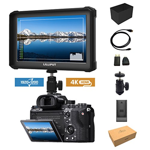 nero Lilliput A7S-2 7 pollici 1920x1200 IPS Screen Camera Field Monitor 4K HDMI Input output Video For DSLR Mirrorless Camera SONY A7 A7R A7S II A6500 Panasonic GH4 GH5 Canon 5D IV 6D 7D 70D 80D NIKON