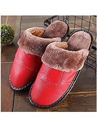 GAOHUI Slippers Los Hombres De Invierno Antideslizante Térmico Terciopelo Artificial Cuero Zapatillas Costura Amantes De La Moda Zapatos,Gules,29 (43-44)