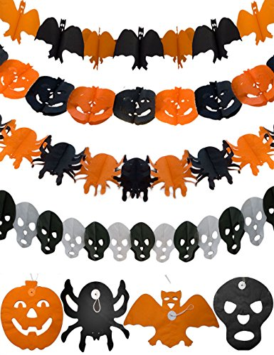 HOMETOOLS.EU® - Halloween Grusel-Party Krepp-Girlanden Party Deko Set | Girlande Kürbis, Spinne, Totenkopf, Fledermaus | 4er SET, 4x 3m, 12m