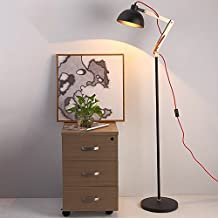 Elegante y hermoso Lámpara de pie americana, simple madera retro Sala de estar Comedor Dormitorio Cama lámpara de pie Fácil de instalar ( Color : Negro )