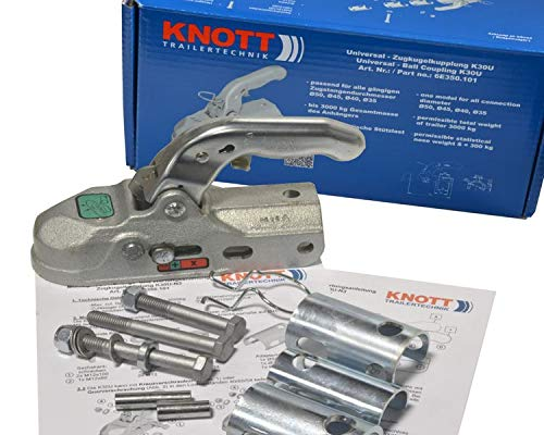 FKAnhängerteile 1 x Knott Kugelkupplung K30U Universal 3000 kg Ø 35,40,45 und 50 mm Bohrung 12,5 mm