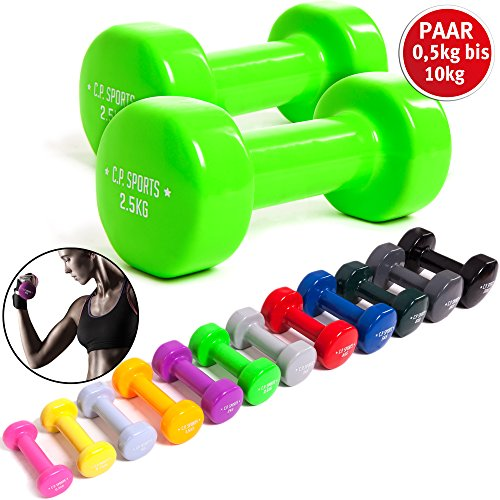 C.P. Sports Gymnastikhanteln 0,5-1,0-1,5-2,0-2,5-3,0-4,0-5,0-6,0-8,0-10 kg - Paare Kurzhantel, Vinyl Hanteln, Faust Hantel, Gewichte, Fitness (2 x 0,5 KG)