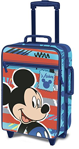 Disney topolino d97770 valigia per bambini, trolley da cabina, 53 centimetri, 25 litri, multicolore
