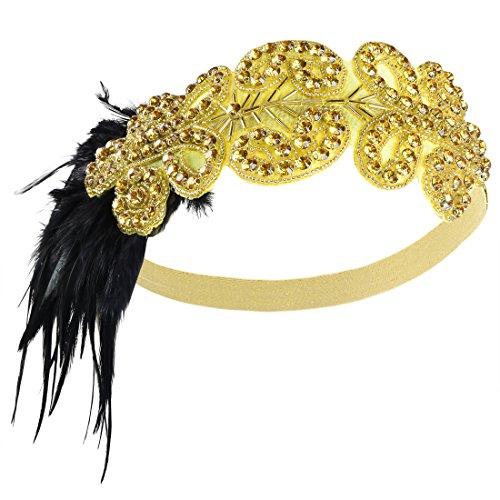 PrettyGuide Damen 1920er Flapper Kopfstück Perlen Feder Stirnband Gatsby Kopfschmuck ()
